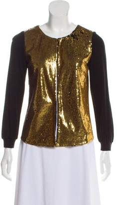 Hanley Mellon Sequin Collarless Cardigan
