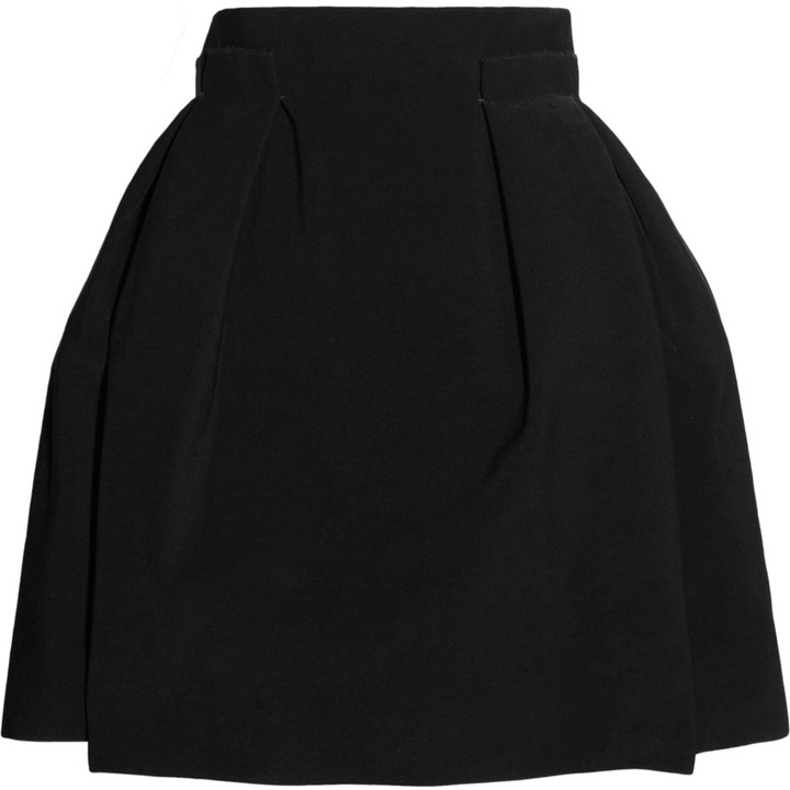 Lanvin High-waisted stretch-crepe pleated mini skirt