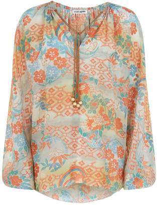 Elizabeth and James Chance Gathered Long Sleeve Ruchedd Neck Floral Top