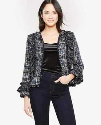 Ann Taylor Ruffle Tweed Peplum Jacket