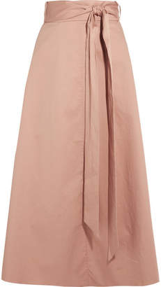 Tibi Cotton-poplin Wrap Skirt - Beige