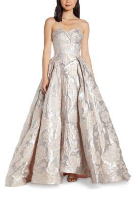 Mac Duggal Strapless Metallic Floral Jacquard Prom Dress