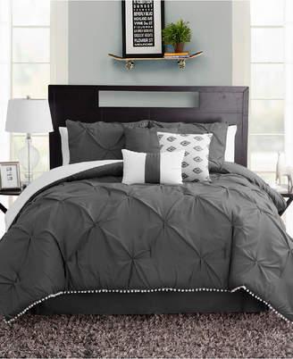 Sanders Pom Pom Seven Piece Queen Size Comforter Set Bedding