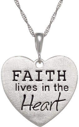 FINE JEWELRY Personalized Sterling Silver Faith Engravable Heart Pendant Necklace