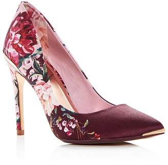 Ted Baker Women's Kawaap Floral Print Satin Pointed Toe Pumps