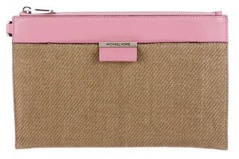 Michael Kors Leather-Trimmed Straw Clutch - NEUTRALS - STYLE