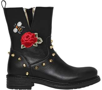 MonnaLisa Embroidered Nappa Leather Boots