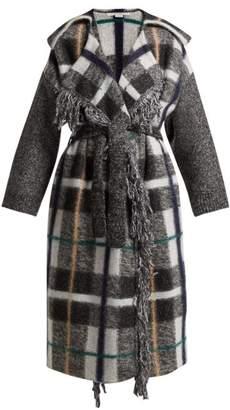 Stella McCartney Fringed Checked Wool Blend Coat - Womens - Grey Multi