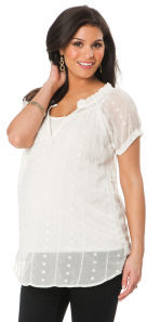 Motherhood Short Sleeve Embroidery Maternity Blouse
