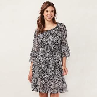 Lauren Conrad Women's Print Fit & Flare Peasant Dress