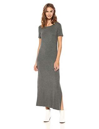 Daily Ritual Women's Jersey Crewneck Short Sleeve Maxi Dress with Side Slit