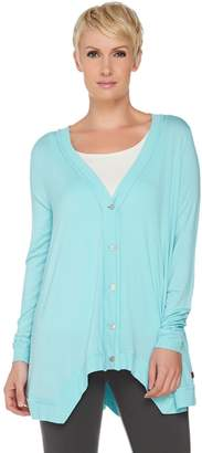 Peace Love World Button Front Cardigan with Asymmetric Hem