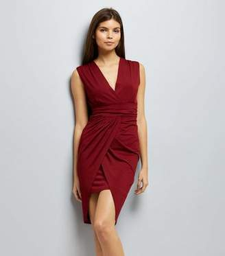 Yumi Red Wrap Front Waterfall Dress