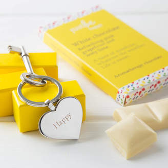 JustBe Botanicals Just Be Happy Engraved Heart Key Ring With Chocolate