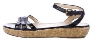 Prada Patent Leather Ankle Strap Sandals