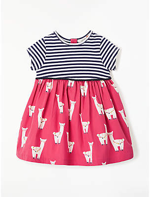 John Lewis & Partners Baby Lama Half and Half Dress, Pink