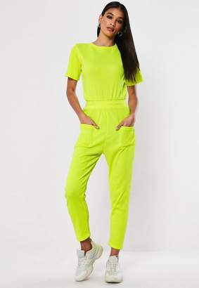 Missguided Neon Yellow Rib Pocket Romper