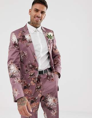 Asos Design DESIGN wedding skinny suit jacket with pink floral print