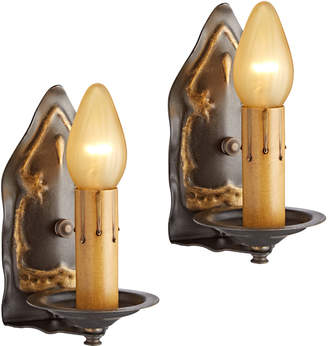 Rejuvenation Pair of Romantic Candle Sconces w/ Gold Highlights