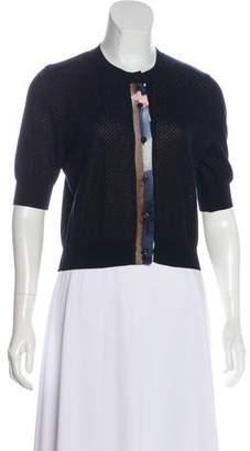 Oscar de la Renta Knit Short Sleeve Cardigan