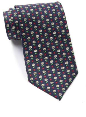 Thomas Pink Heart & Flower Print Silk Tie