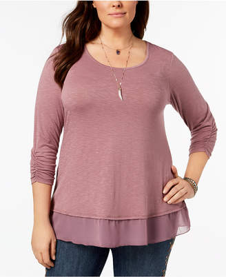 Style&Co. Style & Co Plus Size Chiffon-Hem Top, Created for Macy's