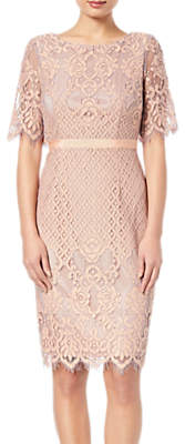 Adrianna Papell Georgia Bell Sleeve Lace Sheath Dress, Peach/Lilac