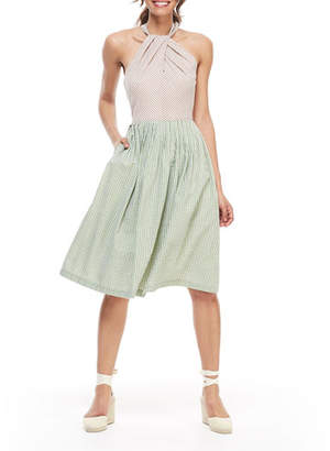 Gal Meets Glam Gingham Colorblock X-Back Pleated Halter Dress