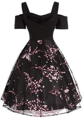 DressLily Vintage Cold Shoulder Mesh Panel Dress