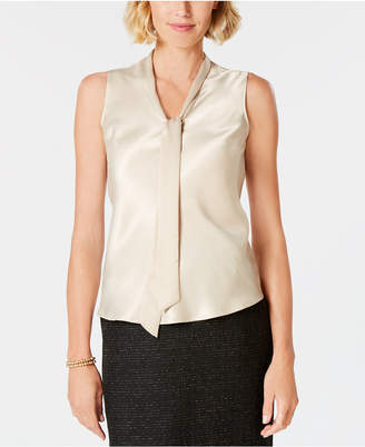 Kasper Tie-Neck Sleeveless Blouse