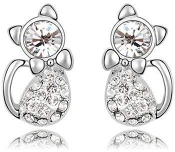 Blue Pearls Ohrringe Katzen-Ohrringe mit weißen Swarovski Elements