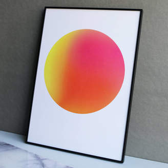YVE PRINT CO. Limited Edition Neon Pink And Orange Gradient Dot Print