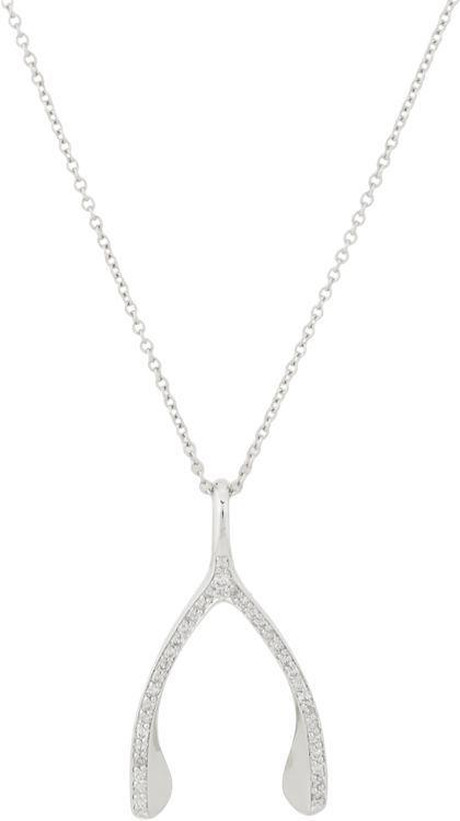 Jennifer Meyer Women's Wishbone Pendant Necklace-Colorless