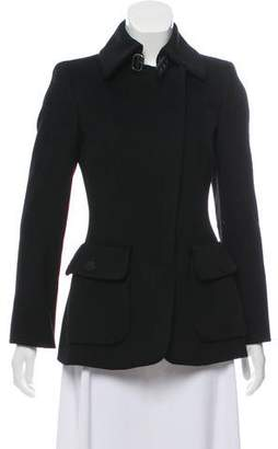 Giorgio Armani Leather-Accented Short Coat