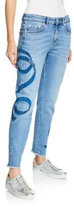 Escada Sport Ribbon-Print Washed Boyfriend Jeans