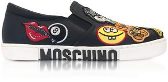 Moschino Black Leather Slip On Sneakers W/patches