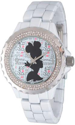 Disney Womens Minnie Mouse White And Silver ToneGlitz Silhouette Bracelet Watch