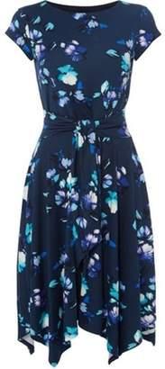 Dorothy Perkins Womens *Roman Originals Navy Hanky Hem Floral Print Skater Dress
