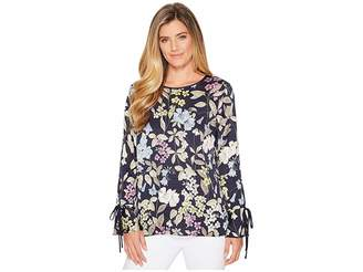 Vince Camuto Long Sleeve Flare Cuff Country Floral Blouse Women's Blouse