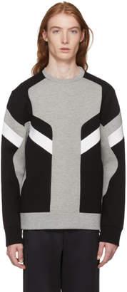 Neil Barrett Grey and Black Zippered Modernist Sweatshirt