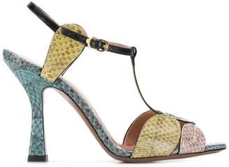 L'Autre Chose snakeskin peep toe sandals