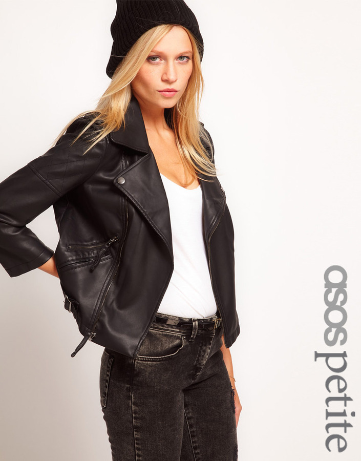 Asos Leather Look Quilted Biker Jacket