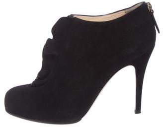 Valentino Suede Ruffle Boots Black Suede Ruffle Boots