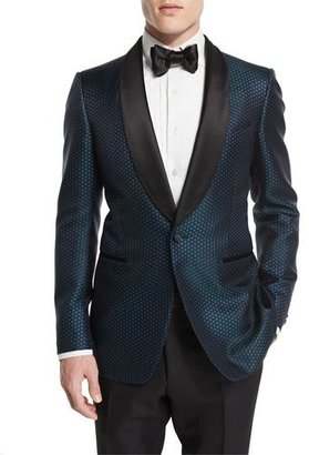 TOM FORD Buckley-Base Mesh-Print Tuxedo Jacket, Green/Black $5,470 thestylecure.com