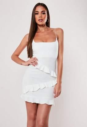 Missguided White Square Neck Frill Hem Mini Bodycon Dress