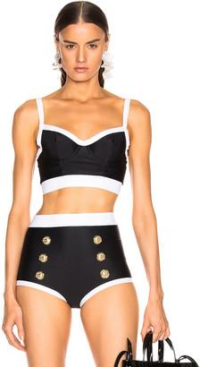 Balmain Vintage Style Bikini Top in Noir & Blanc | FWRD