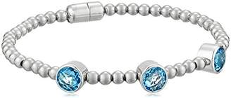Sterling Silver Round Swiss Topaz Beaded with Magnet Clasp Bracelet