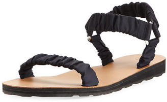 THE ROW Egon Ruched Nylon Flat Sandal $620 thestylecure.com
