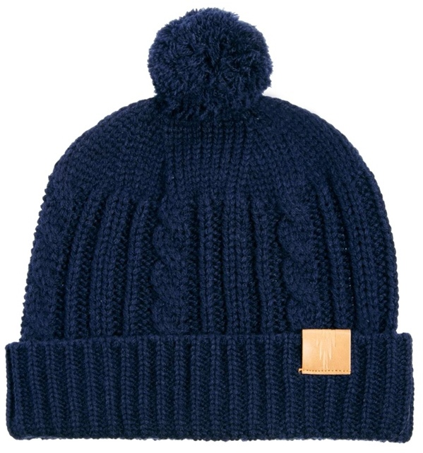 Asos Fisherman Beanie Hat with Bobble in Wool Blend - Blue