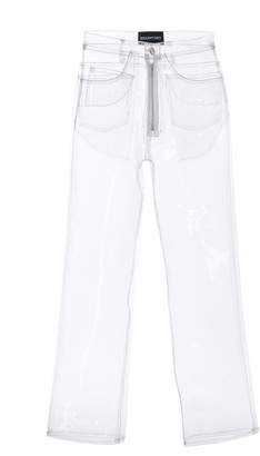 Brashy Crystalline Clear Plastic 5 Pocket Transparent Jean $210 thestylecure.com